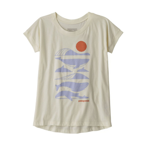 Tricou Drumetie Copii Patagonia Girls' Graphic Organic T-Shirt White Wash