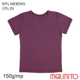 Tricou Copii Merinito 150G 85% Lana Merinos 15% In Visiniu